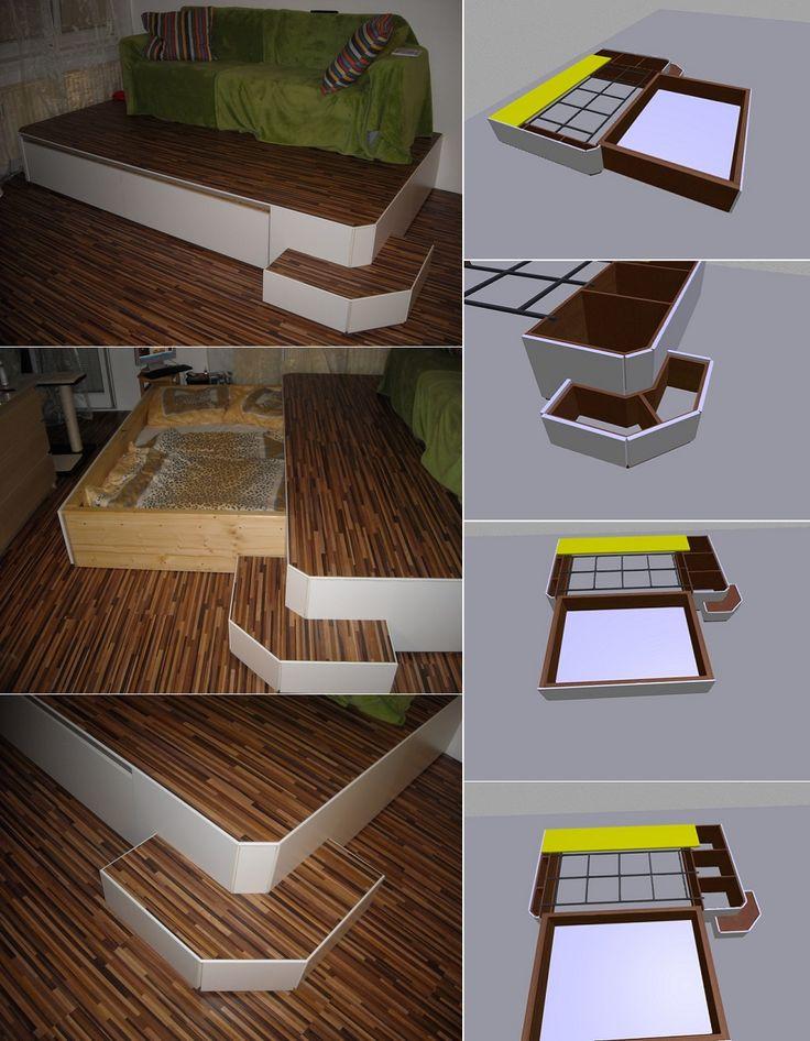 Maskieren Sie das Bett für kleine Räume – DIY