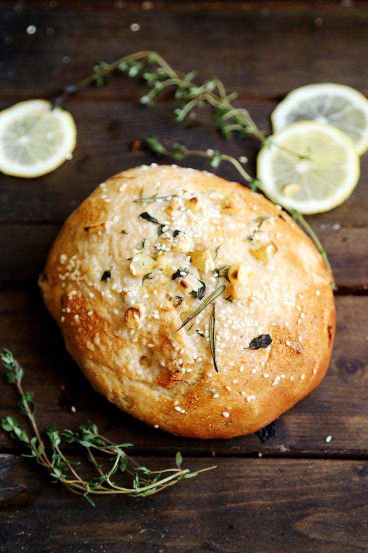 Vegan Lemon Herb Garlic Bread Buns