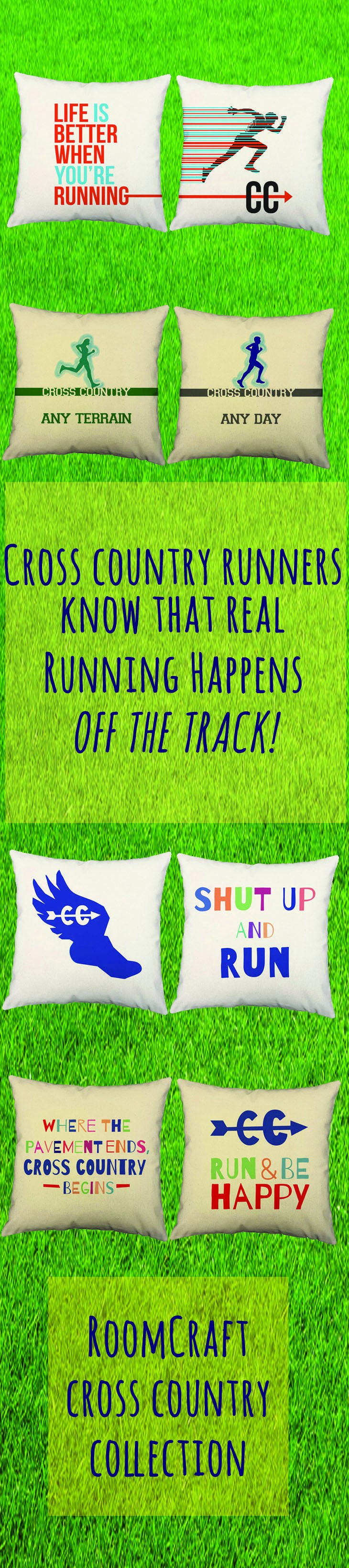 Fun, original pillows for the Cross Country enthusiast! Perfect gifts for coaches or teammates