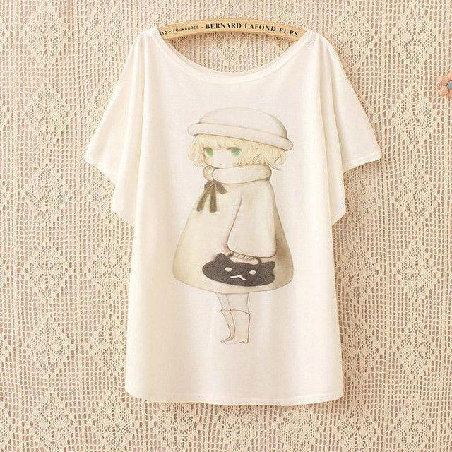 New fashion Batwing harajuku beautiful ice cream print t-shirt women 2015 summer High quality women loose tops tees