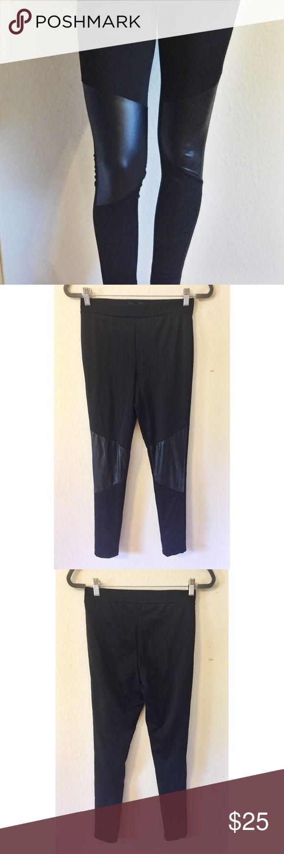 "Kardashian Kollection leather panel leggings Kardashian Kollection high waist ""wet look"" leggings with faux leather panels. 28"" inseam, 10"" front rise, 14"" back rise. Size medium, fits like a 4-6. Like new condition. Kardashian Kollection Pants Leggings"