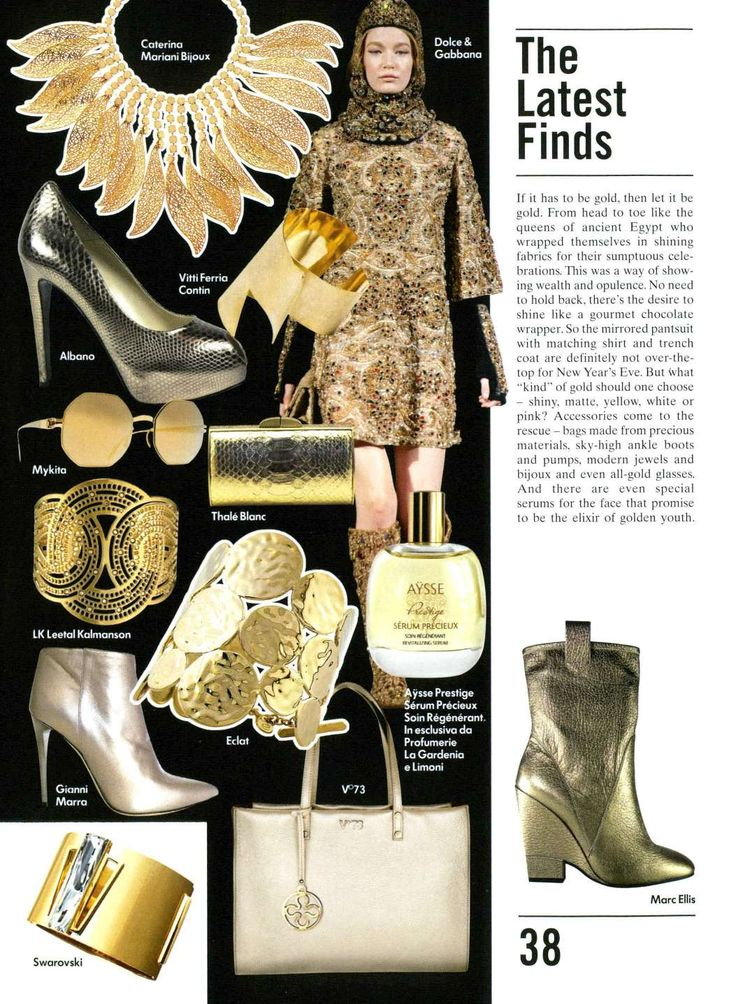 What's your favorite color? For this Christmas  holidays Albano propose gold shoes and accessories on vogue magazine