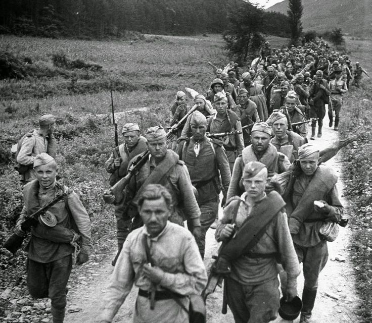 Aftermath of World War II ~ Soviet soldiers on the march in northern Korea in October of 1945. Japan had ruled the Korean peninsula for 35 years, until the end of World War II. At that time, Allied leaders decided to temporarily occupy the country until elections could be held and a government established. Soviet forces occupied the north, while U.S. forces occupied the south. The planned elections did not take place, as the Soviet Union established a communist state in North Korea, and the…