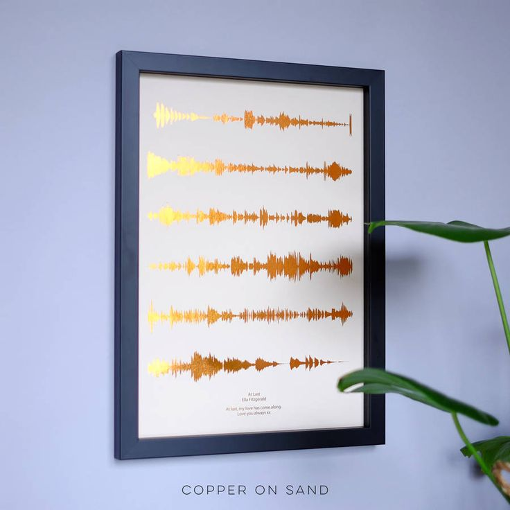 A stunning metallic personalised print designed for music lovers, featuring your favourite song in the format of visual soundwaves, on coloured paper backgrounds.Under your soundwave, we write the song title and artist name in title case. If you want something different to this, please send a note with your order.This striking personalised sound waves print is a great present to invoke those treasured memories. Featuring the 'first dance' song makes for a perfect wedding or anniversary gift…