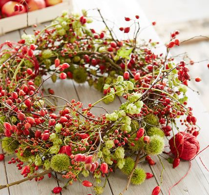 Fall wreath with rose bottles