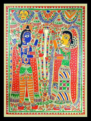 Madhubani painting, 'Celestial Union' by NOVICA