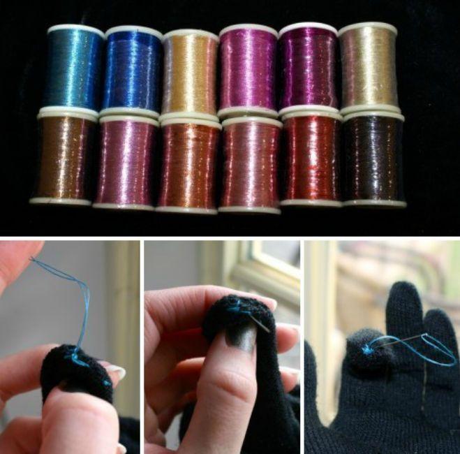 Известно, пользоваться сенсорными гаджетами в перчатках невозможно. Чтобы ответить на звонок, приходится морозить руки. Конечно, существуют специальные «сенсорные» перчатки, но не выбрасывать же старые, которые вполне презентабельно выглядят. Купите металлизированную нить (люрекс) и прошейте ею палец перчатки так, чтобы обеспечить полный контакт нити снаружи (со смартфоном) и внутри (с кожей рук). Крестиком или другим стежком — не важно! Главное — контакт!