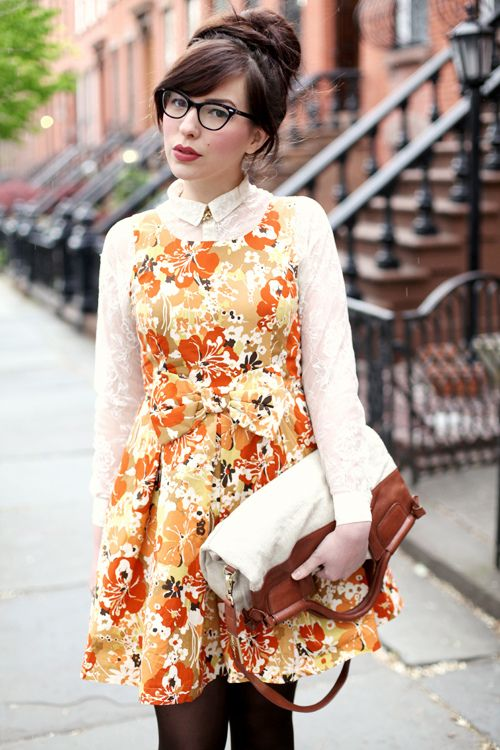 Lace long sleeve blouse under printed dress! Lovely idea!