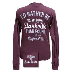 MSU Mississippi State Bulldogs Lost In Starkville Girlie Bright Long S | SimplyCuteTees