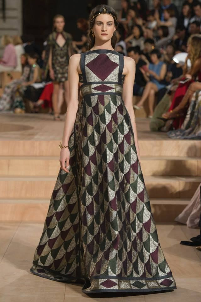 """""""Vittoriana"""", double silk mosaic encrusted dress in porphyry shades.   Valentino Haute Couture Fall/Winter 2015"""