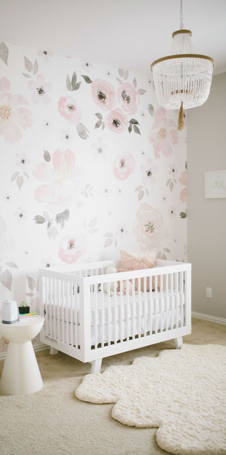 This watercolor floral mural is practically made for your little girl's  nursery! Take inspiration from