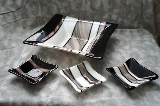 Fused Glass Art Deco Bowl Set