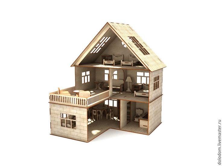 Купить КД-0000013 Кукольный домик с мебелью - домик, игрушка, Мебель, мебель из дерева