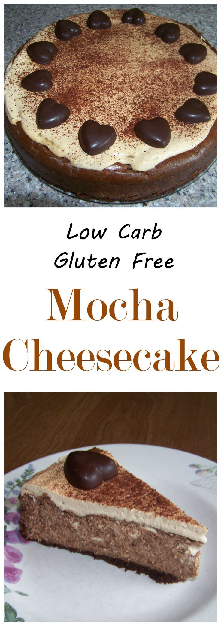 A decadent sugar free mocha cheesecake to wow your low carb friends. Uses homemade gluten free chocolate biscotti that have been ground up for the crust. Great keto Banting dessert!