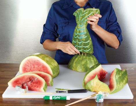 the little mermaid centerpiece cutouts | How to Make a Mermaid Tale from Watermelon (NY Metro Parents Magazine)