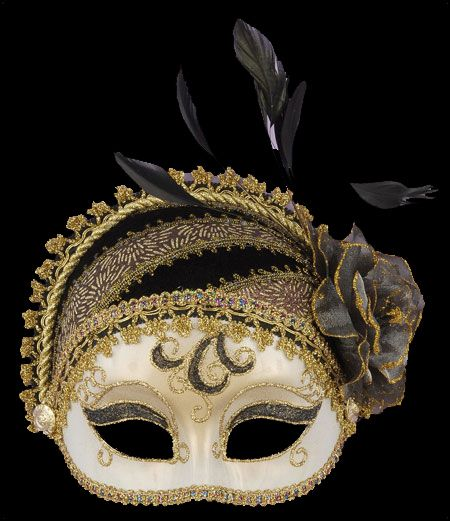 20's style Masquerade half mask, black & gold and  perfect for a Halloween Black & Gold Glam Gathering Party.