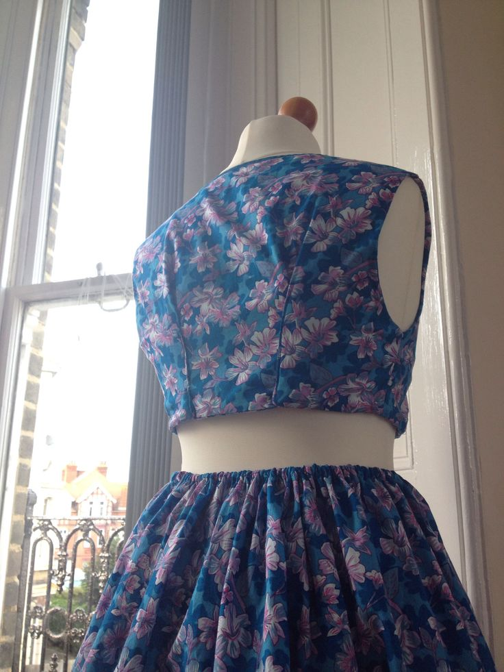 Reworked dress into coord outfit back view - Sold