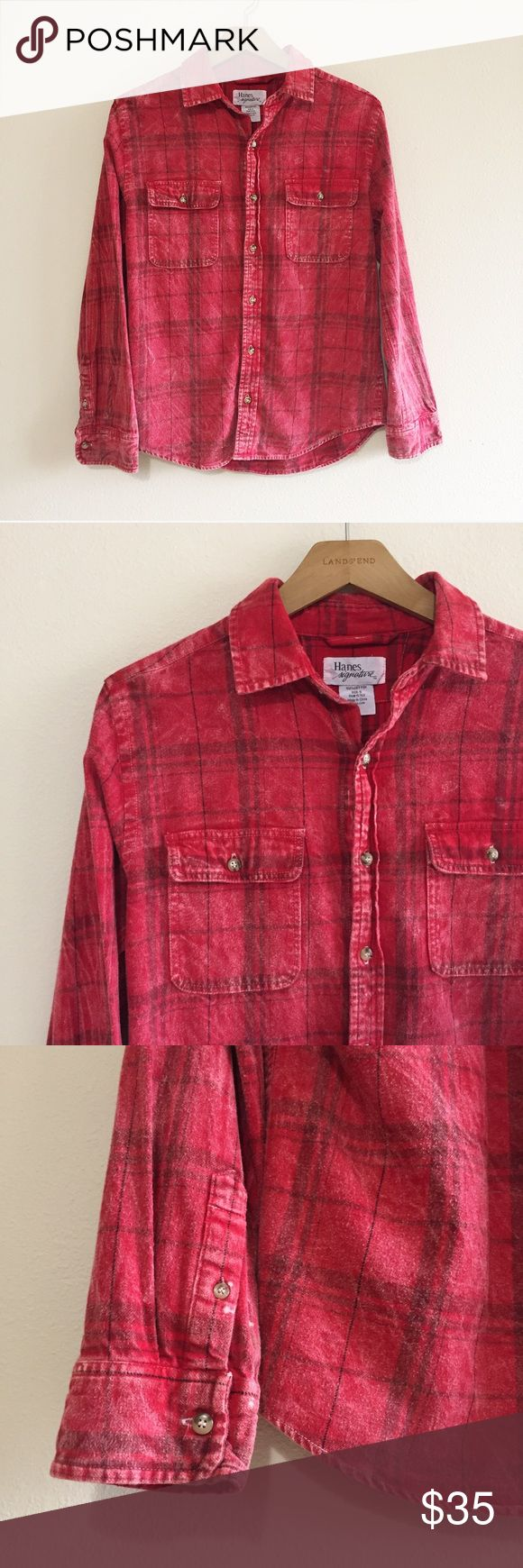 Urban Renewal Vintage Plaid Flannel Shirt 100% authentic vintage plaid flannel shirt by Hanes. Lived in, grunge style. Pair this with a band tee or cr...