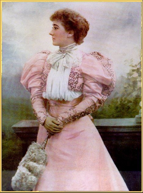 Picture of Mary Moore wearing an 1890's pink gown with leg of mutton sleeves. Fashion history and costume history.