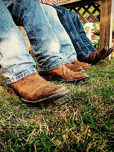 Nothing sexier than blue jeans and cowboy boots on a Southern man :)