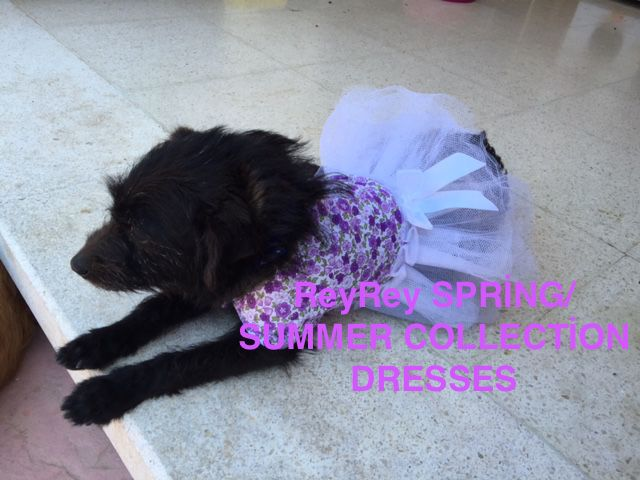A 2 İN 1 DRESS. one side has floral design fabric and the reverse side purple with bling bling.