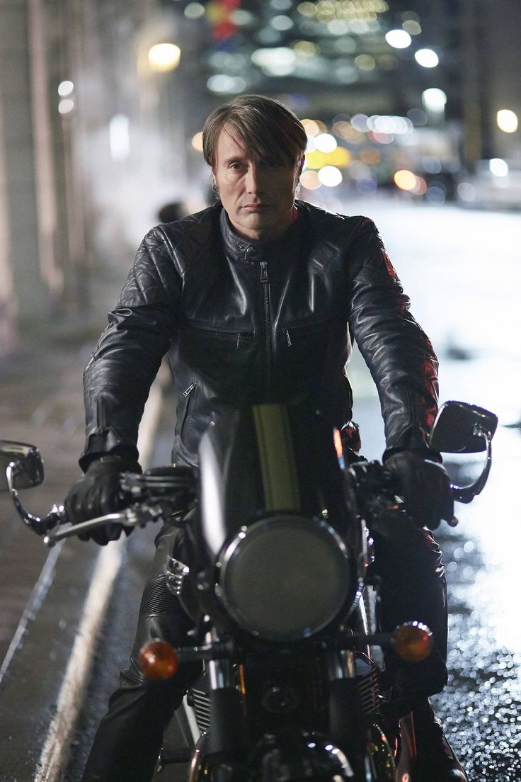 Forget about Mads in plaids. Mads Mikkelsen in leather on a motorcycle is everything.... Hannibal, Season 3 begins on June 4th.