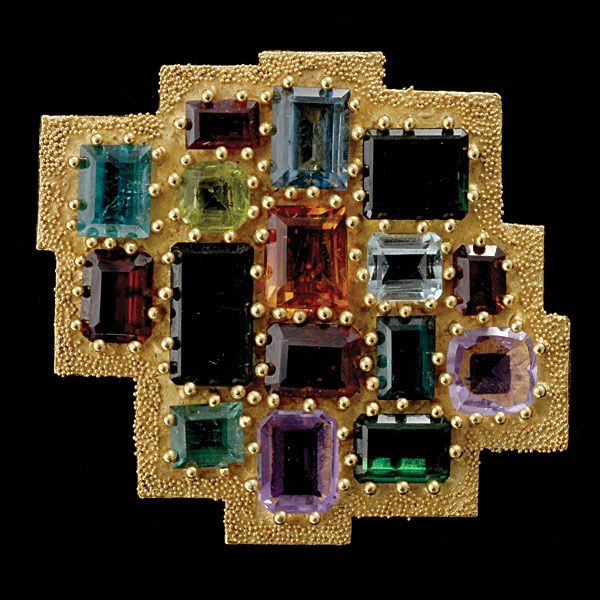 Ed Wiener Abstract Multi Gemstone, 18K Yellow Gold Brooch #jewelry #michaans http://www.michaans.com/events/2010/auct_01032010.php