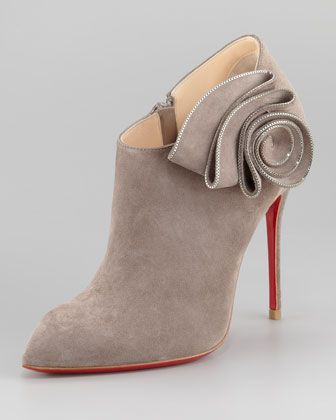 OH MY......  Mrs. Baba Suede Red Sole Bootie by Christian Louboutin at Neiman Marcus.