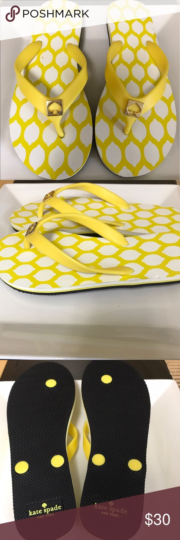 Kate Spade Lemon Flip Flops Kate Spade lemon Flip Flops. Size S (5-6). Never worn. Spots near strap - I believe it was that way from factory. kate spade Shoes Sandals