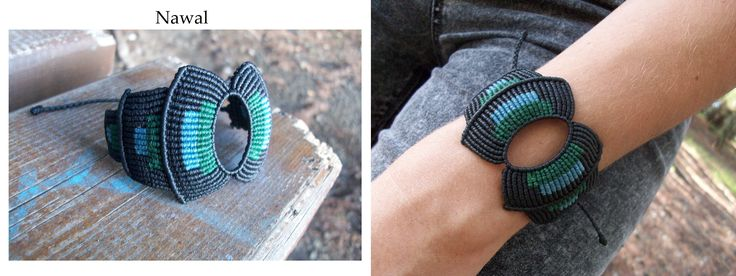 Mayan micro macrame bracelet, with light blue and green details and a sliding knot as a clasp!