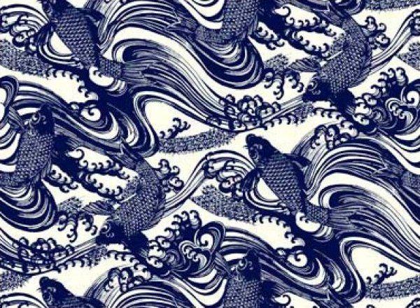 Katagami Asia Asian Blue Koi Fish Wave Wood Cut Japan Oriental Indigo Cotton Fabric Quilt Fabric T333