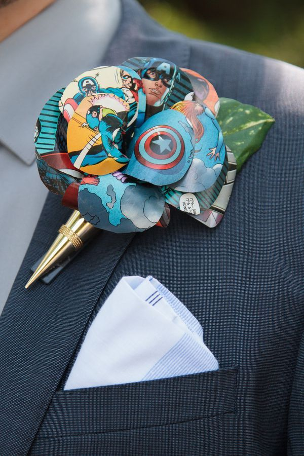 Comic paper Boutonniere, photo by Muschlitz Photography LLC. Non Floral Boutonnieres