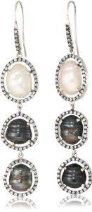 "Jordan Alexander ""Slice"" Sterling Silver, Diamond, and Tahitian Cultured Pearl Drop Earrings"