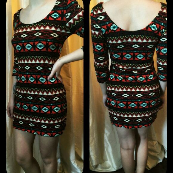 Dress aztec patteren Stretch aztec patterned mini 3/4 sleeve tshirt dress. Soft and comfy can be worn alone or with leggings. I wore it with black thigh high boots and a long, long sleeved open cardigan sweater with chunky turquoise jewelry. This dress is great for a weekend night out or pair out with denim button up and cowboy boots for shopping or hanging with the girls! Make me an offer! Thanks for looking happy Poshing! Dresses Mini