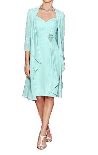 258483009 Chic Dislax Women's Chiffon Short Mother of The Bride Dress with Jacket  online. [$115.99] offerdressforyou from top store