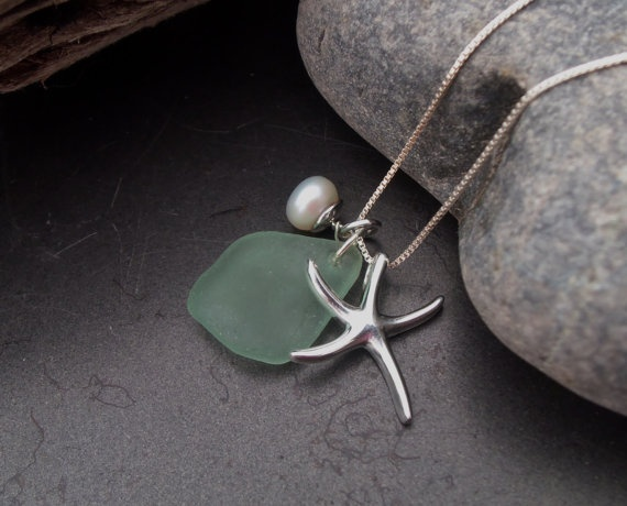 Sea glass jewelry  Aqua Green sea glass by FatCatsOnTheBeach, $53.00