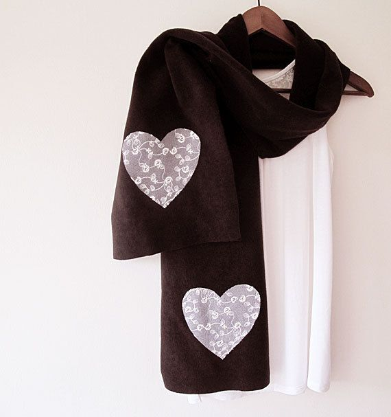 Valentine Hearts Scarf Scarf Dark Brown Gifts by ElegantScarff, $22.00