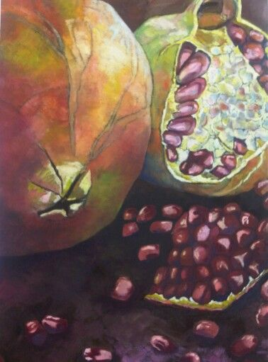 Pomegranate - Oil on canvas by Christine Joubert