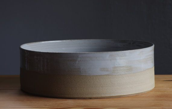 MTO Stoneware bowl grey serving bowl sand color by vitrifiedstudio