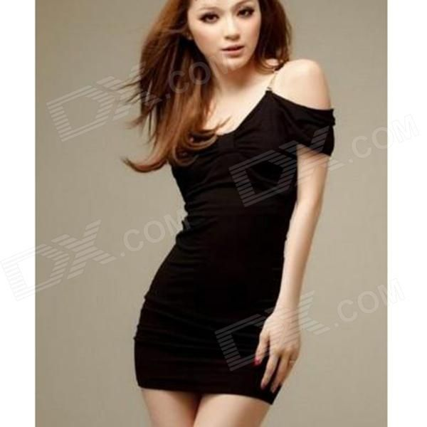 Sexy Off-The-Shoulder  Milk Silk Dress - Black