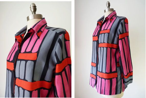 1970s VERA Blouse Vintage ROUNDED RECTANGLES by GarishVibeVintage