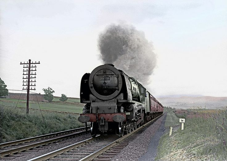 46237 'City of Bristol' Coronation Class 4-6-2 at Shap in 1963. (Colourized monochrome by dpwill44)