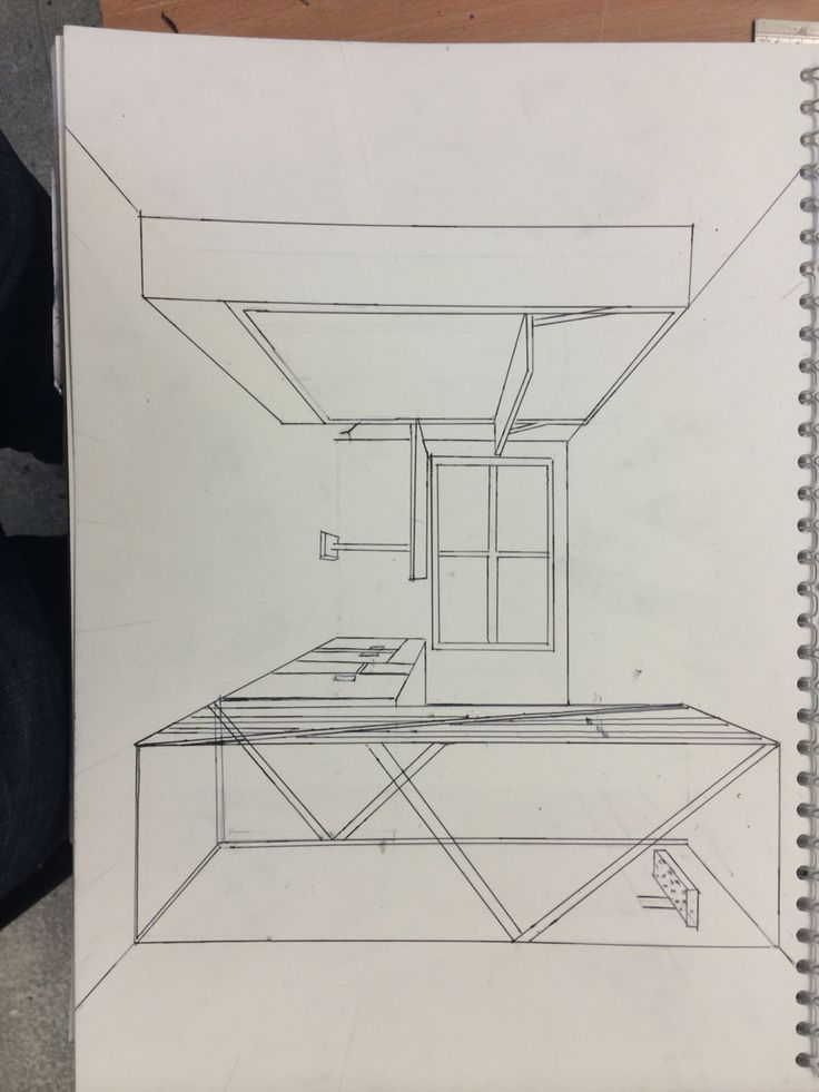 Drawing perspective priory halls bedroom