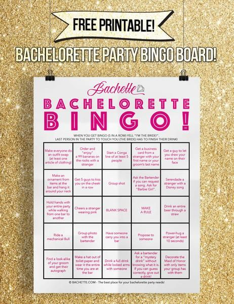 Free Printable Bachelorette Bar Crawl Bingo Game