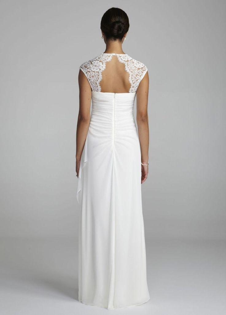 Lace cap sleeve long matte jersey dress david 39 s bridal for Davids bridal cheap wedding dresses