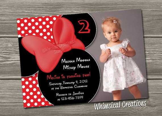 Minnie Mouse Birthday Invitation Digital by WhimsicalCreationsPC