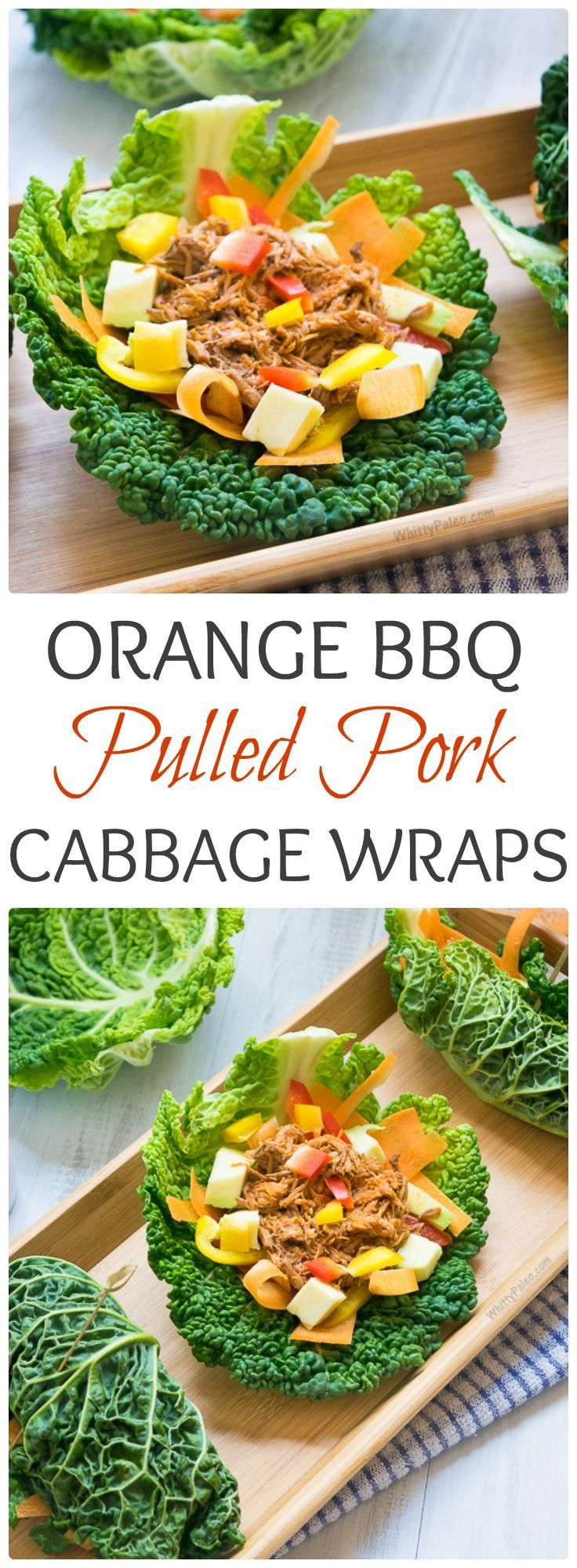 Orange BBQ Pulled Pork Cabbage Wraps from http://WhittyPaleo.com