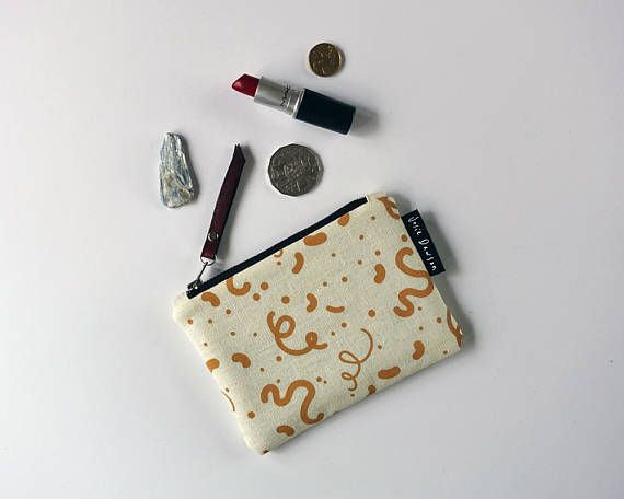 Hand Printed Purse Zipper Pouch Small Gift Coin Purse