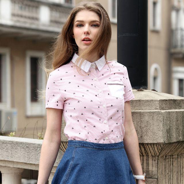 Вери güde летний стиль женские британский стиль с коротким рукавом блузка жаккардовые полосатой рубашке