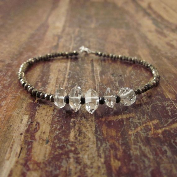 Herkimer Diamond Bracelet with Pyrite & Black by TwoFeathersNY, $68.00